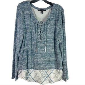 White House Black Market lace up layered sweater